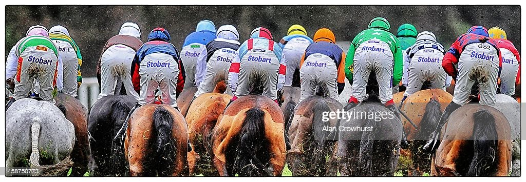 A general view of the runners as they make their way down the side of the track at Ascot racecourse on December 21, 2013 in Ascot, England.