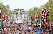 General view of the runners on The Mall during the Virgin Money London Marathon on April 26 2015 in London England