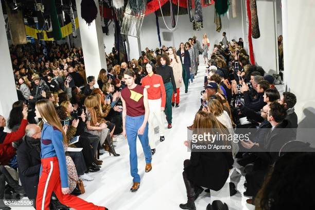 A general view of the runway at the Calvin Klein Collection Autumn Winter 2017 fashion show during New York Fashion Week on February 10 2017 in New...