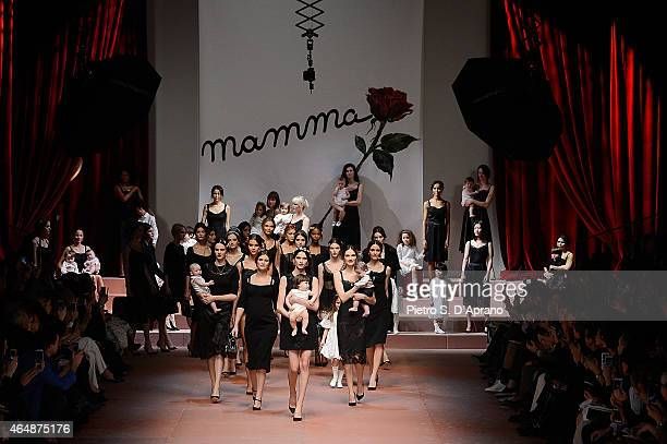A general view of the runway at the DolceGabbana show during the Milan Fashion Week Autumn/Winter 2015 on March 1 2015 in Milan Italy