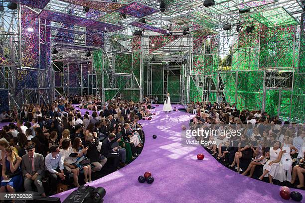 A general view of the runway during the Christian Dior show as part of Paris Fashion Week Haute Couture Fall/Winter 2015/2016 on July 6 2015 in Paris...