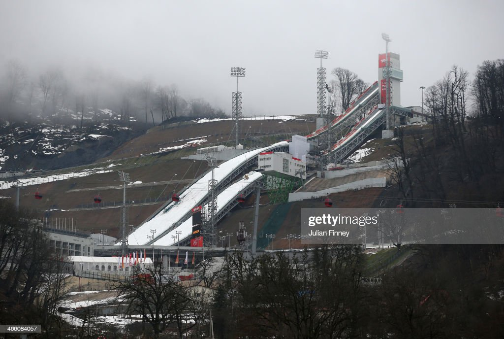 A general view of the RusSki Gorki Ski Jumping venue ahead of the Sochi 2014 Winter Olympics on January 31, 2014 in Rosa Khutor, Sochi.