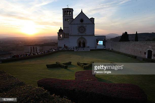 A general view of the Sacro Convento and Saint Francis Basilica at sunset prior to Pope Francis' visit on October 3 2013 in Assisi Italy The...