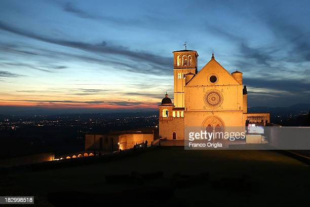 A general view of the Sacro Convento and Saint Francis Basilica prior to Pope Francis' visit on October 3 2013 in Assisi Italy The residents of...