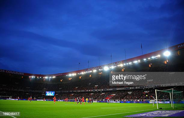 A general view of the sadium during the Ligue 1 match between Paris SaintGermain FC and Stade Brestois 29 at Parc des Princes on May 18 2013 in Paris...
