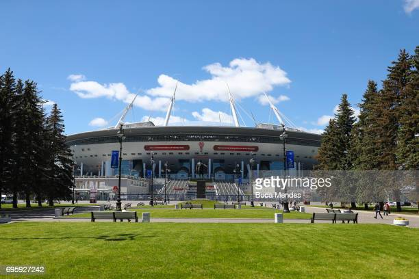 A general view of the Saint Petersburg Stadium on Krestovsky Island The stadium is to host matches of the 2017 FIFA Confederations Cup on June 14...