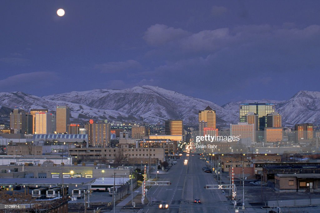 A general view of the Salt Lake City skyline taken during the 2002 Winter Olympic Games on February 18 2002 in Salt Lake CIty Utah
