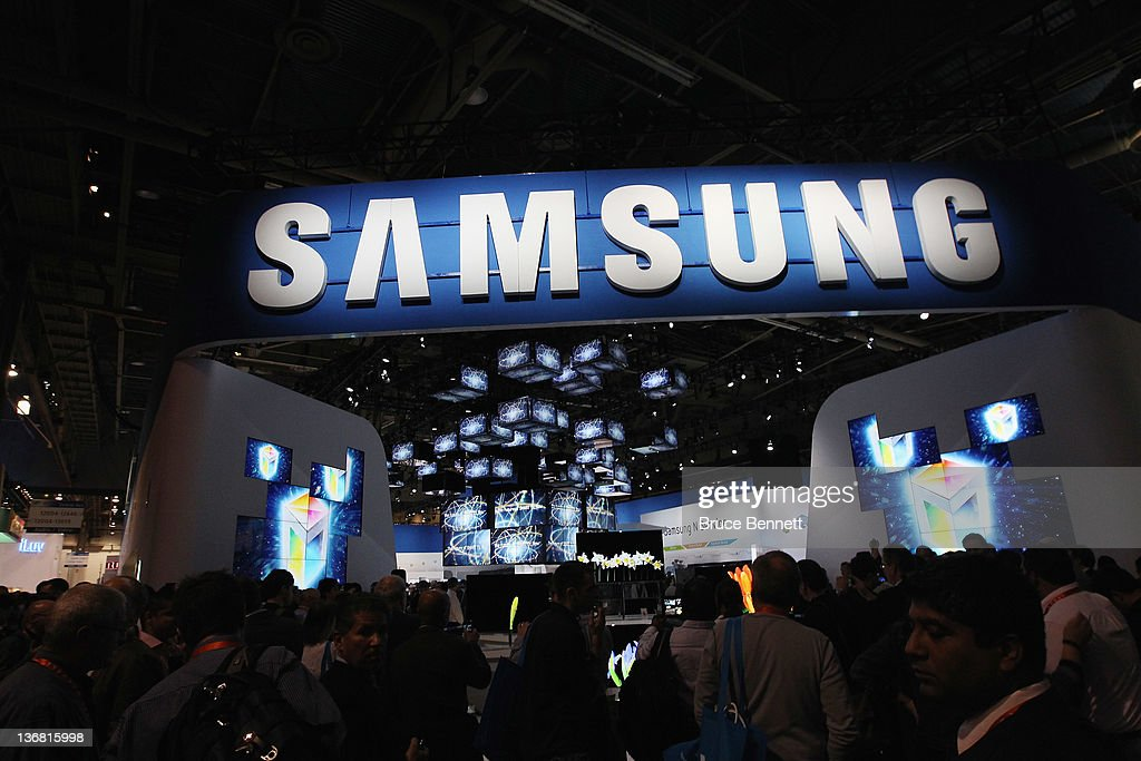 A general view of the Samsung booth at the 2012 International Consumer Electronics Show at the Las Vegas Convention Center January 11, 2012 in Las Vegas, Nevada. CES, the world's largest annual consumer technology trade show, runs through January 13 and features more than 3,100 exhibitors showing off their latest products and services to about 140,000 attendees.