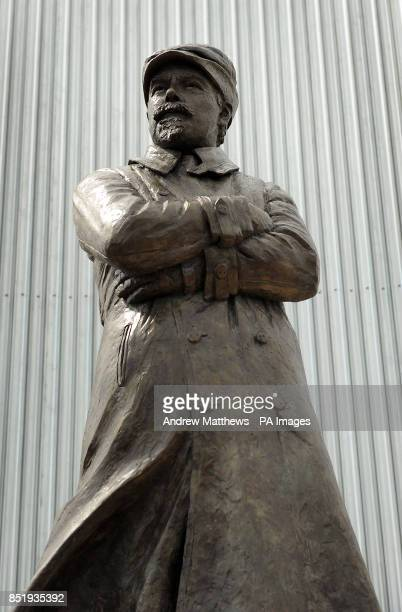 General view of the Samuel Cody statue which has been unveiled at the Farnborough Air Sciences Trust to mark 100 years since his death on 7 August...