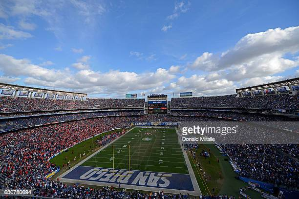 A general view of the San Diego Chargers vs Kansas City Chiefs en route to Chiefs 3727 win over the Chargers at Qualcomm Stadium on January 1 2017 in...