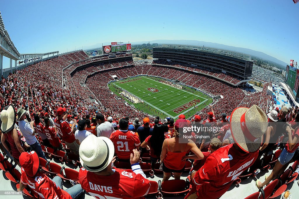 A general view of the San Francisco 49ers taking on the Denver Broncos during a preseason game at Levi's Stadium on August 17, 2014 in Santa Clara, California.