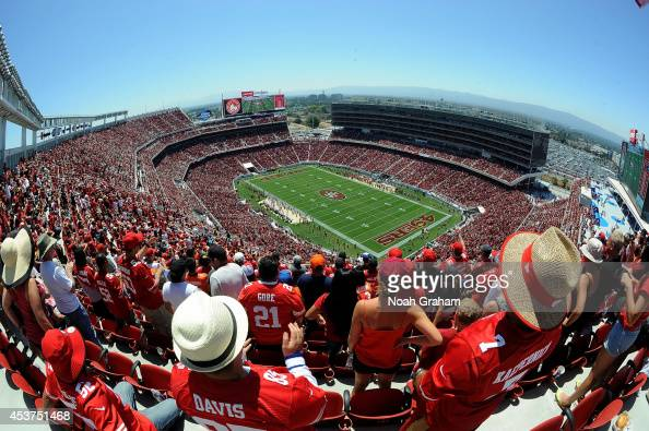 A general view of the San Francisco 49ers taking on the Denver Broncos during a preseason game at Levi's Stadium on August 17 2014 in Santa Clara...