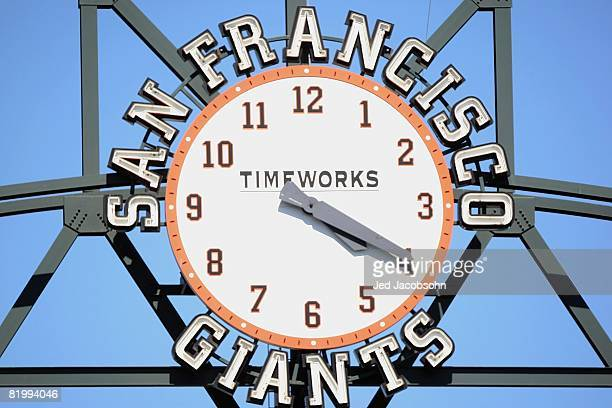 A general view of the San Francisco Giants clock taken during the game against the Chicago Cubs during a Major League Baseball game on July 3 2008 at...