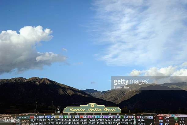 A general view of the San Gabriel Mountains during the 2014 Breeders' Cup Mile at Santa Anita Park on November 1 2014 in Arcadia California