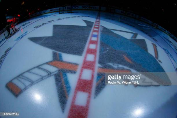 A general view of the San Jose Sharks logo prior to the game between the Edmonton Oilers and San Jose Sharks in Game Three of the Western Conference...