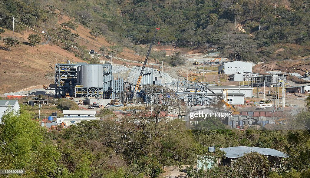 A general view of the San Rafael minery, a subsidiary of Canadian firm Tahoe Resources, is seen in San Rafael Las Flores municipality, Jalapa departament, 105 km southeast of Guatemala City, on January 12, 2013. Two security guards were killed during a protest of neighbors against the exploitation of silver.