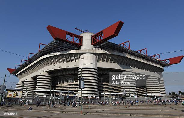 A general view of the San Siro stadium before the UEFA Champions League Semi Final 1st Leg match between Inter Milan and Barcelona at the San Siro on...