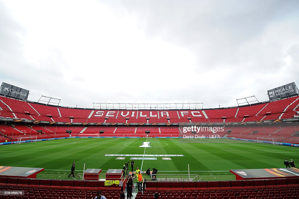 General view of the Sanchez Pizjuan stadium ahead of the UEFA Europa League Semi Final second leg match between Sevilla and Shakhtar Donetsk at the Sanchez Pizjuan stadium on May 5, 2016 in Seville, Spain.