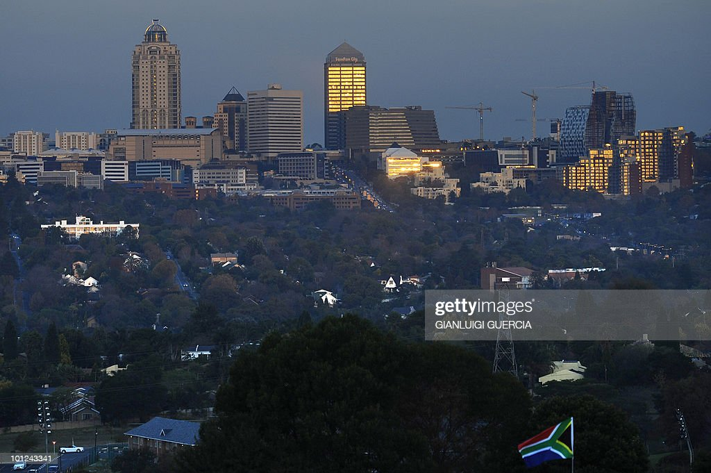 A general view of the Sandton towers is seen as the Australin Football team trains on May 28, 2010 at the Saint Stithians school training field in Johannesburg. The FIFA 2010 World Cup will take place from June 11 to July 11 in South Africa.