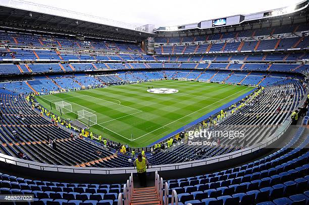 General view of the Santiago Bernabeu stadium ahead of the UEFA Champions League Group A match between Real Madrid and Shakhtar Donetsk at estadio...
