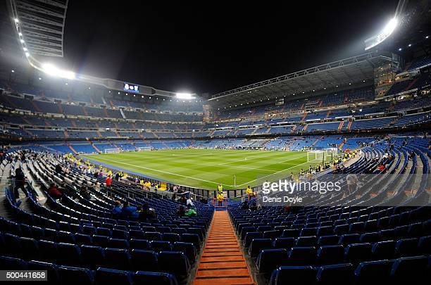 General view of the Santiago Bernabeu stadium ahead of the UEFA Champions League Group A match between Real Madrid CF and Malmo FF at the Santiago...