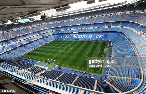 General view of the Santiago Bernabeu stadium ahead of the UEFA Champions League Round of 16 first leg match between Real Madrid CF and SSC Napoli at...