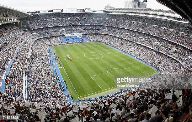 A general view of the Santiago Bernabeu stadium as fans await the start of La Liga match between Real Madrid and Mallorca on June 17 2007 in Madrid...