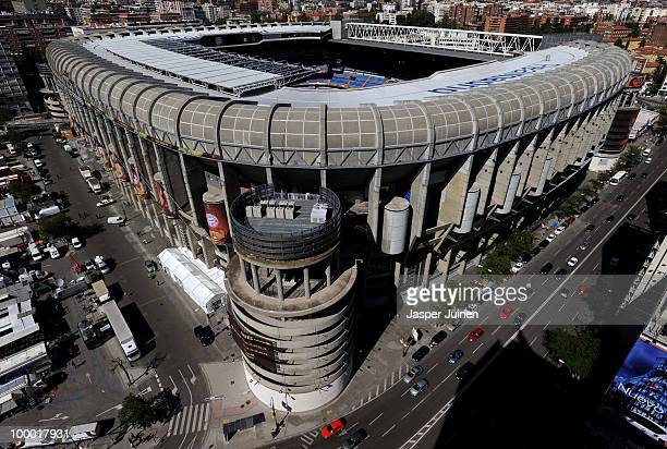 A general view of the Santiago Bernabeu stadium where the UEFA Champions League final match between FC Bayern Muenchen and Inter Milan will be played...