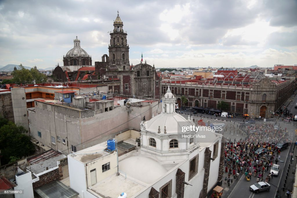 General view of the Santo Domingo Square during the filming of 'Godzilla: King of the Monsters' at Santo Domingo Square on August 22, 2017 in Mexico City, Mexico.