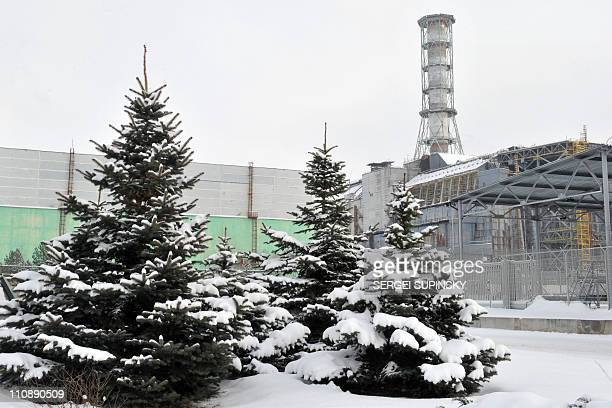 A general view of the sarcophagus covering the destroyed 4th power block of Chernobyl's nuclear power plant is seen on February 22 2011 ahead of the...
