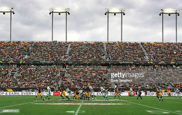 A general view of the Saskatchewan Roughriders vs Hamilton TigerCats during their game at Tim Hortons Field on September 14 2014 in Hamilton Ontario...