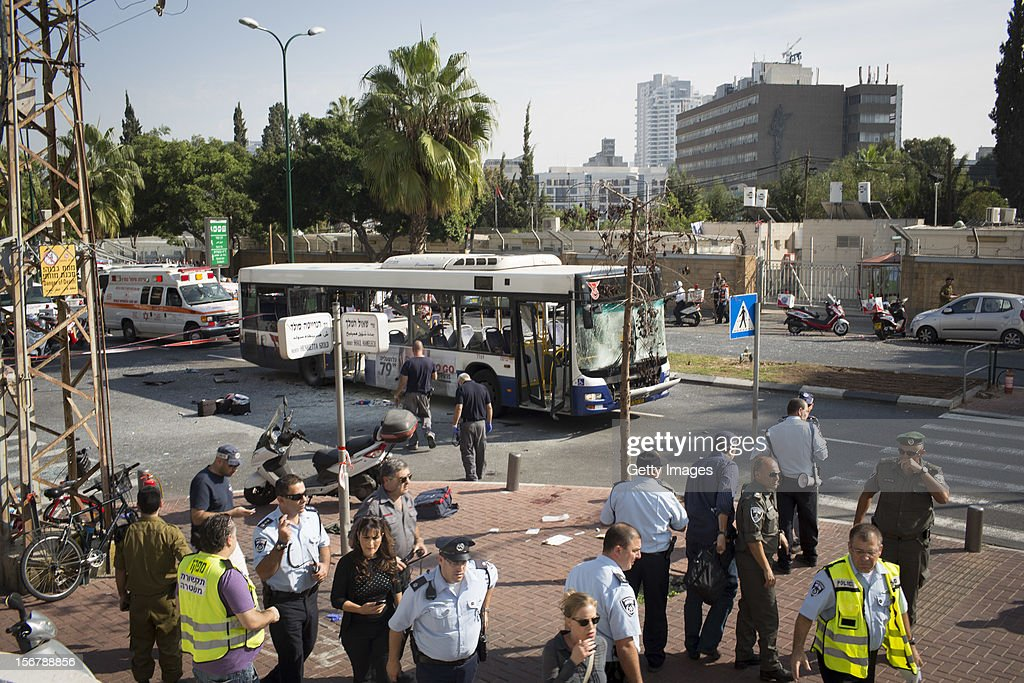 A general view of the scene after an explosion on a bus with passengers onboard on November 21, 2012 in central Tel Aviv, Israel. At least ten people have been injured in a blast on a bus near military headquarters in what is being described as terrorist attack which threatens to derail ongoing cease-fire negotiations between Israeli and Palestinian authorities.