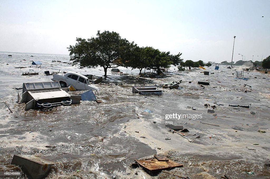 A general view of the scene at the Marina beach in Madras 26 December 2004 after tidal waves hit the region Tidal waves devastated the southern...