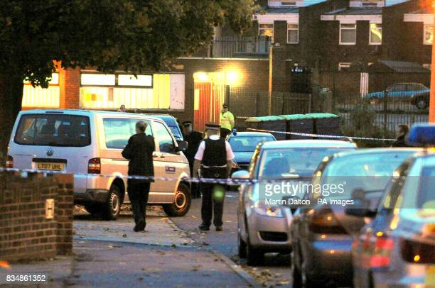 A general view of the scene in Honeysuckle Close Romford east London where a man was shot dead by police