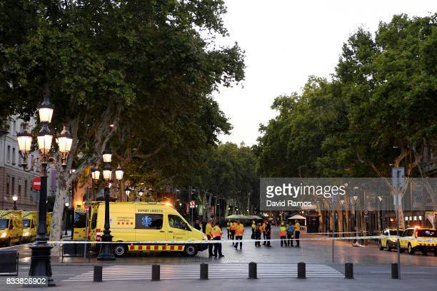A general view of the scene of a terrorist attack in the Las Ramblas area on August 17 2017 in Barcelona Spain Officials say 13 people are confirmed...