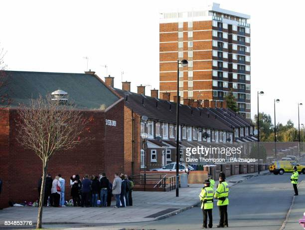 A general view of the scene where Joseph Lappin was stabbed to death outside a youth club in Everton on Monday night
