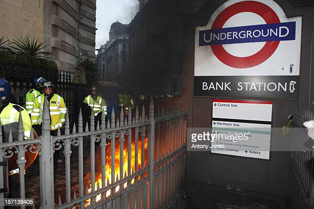 General View Of The Scene Where Protesters Clashed With Police During The G20 Demonstrations Outside The Bank Of England In London