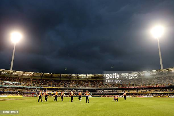General view of the Scorchers taking the field during the Big Bash League match between the Brisbane Heat and the Perth Scorchers at The Gabba on...