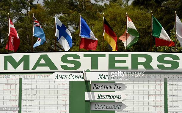 A general view of the score board along side the first hole during a practice round prior to the start of the 2015 Masters Tournament at Augusta...