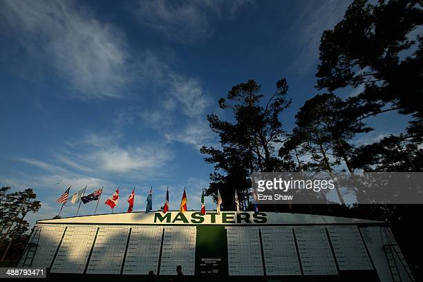 A general view of the score board prior to the start of the 2014 Masters Tournament at Augusta National Golf Club on April 9 2014 in Augusta Georgia