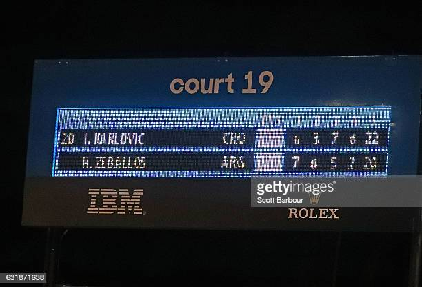 A general view of the scoreboard after Ivo Karlovic of Croatia won his first round match against Horacio Zeballos of Argentina on day two of the 2017...