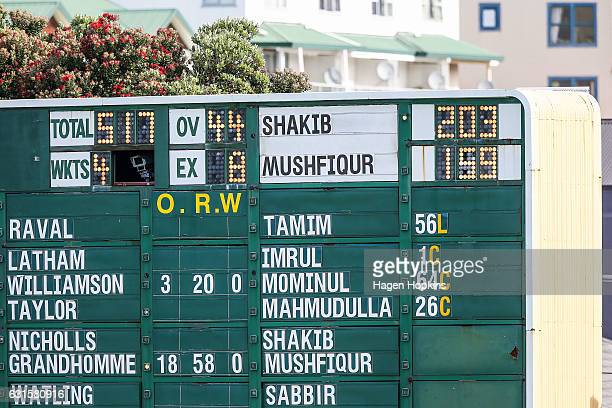 A general view of the scoreboard after Shakib Al Hasan of Bangladesh scored a double century during day two of the First Test match between New...