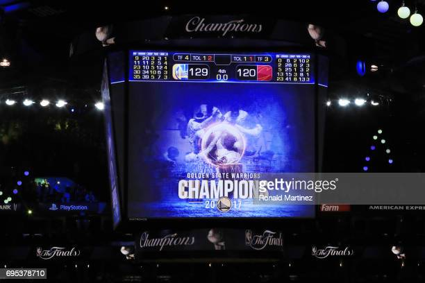 A general view of the scoreboard after the Golden State Warriors defeated the Cleveland Cavaliers 129120 in Game 5 to win the 2017 NBA Finals at...
