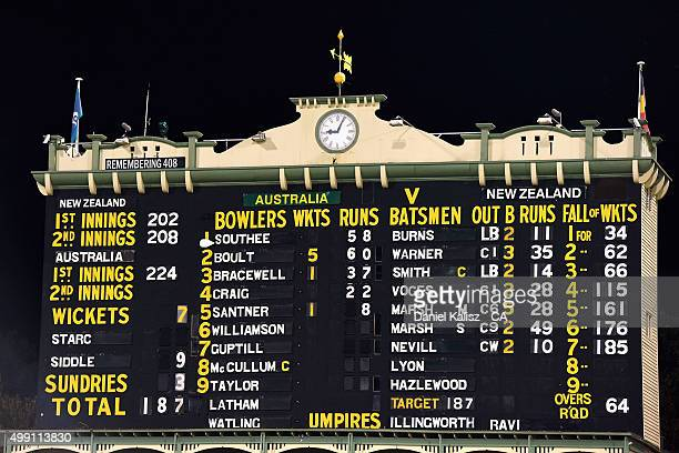 A general view of the scoreboard after the match during day three of the Third Test match between Australia and New Zealand at Adelaide Oval on...