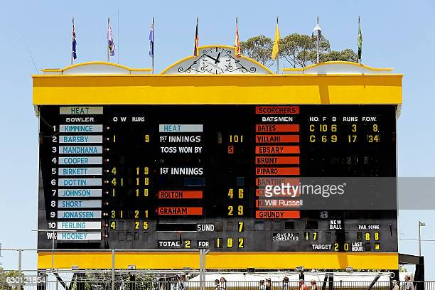 A general view of the scoreboard after the Scorchers defeated the Heat during the WBBL match between the Brisbane Heat and Perth Scorchers at WACA on...