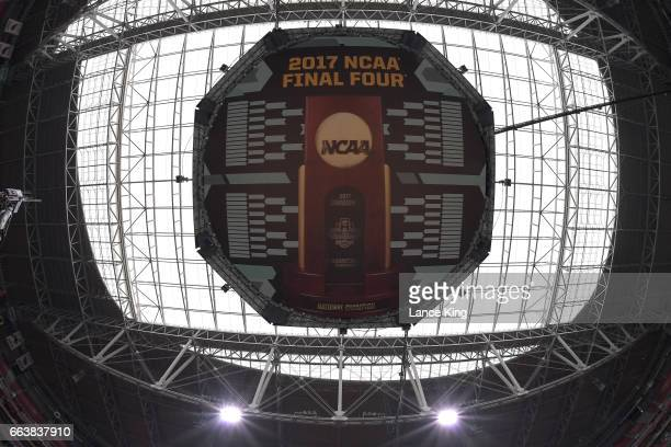 A general view of the scoreboard and ceiling during the 2017 NCAA Men's Final Four Semifinals at University of Phoenix Stadium on April 1 2017 in...