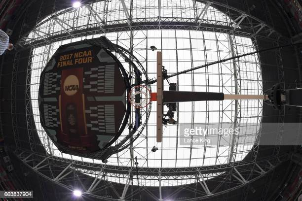 A general view of the scoreboard and ceiling from underneath a goal and backboard during the 2017 NCAA Men's Final Four Semifinals at University of...