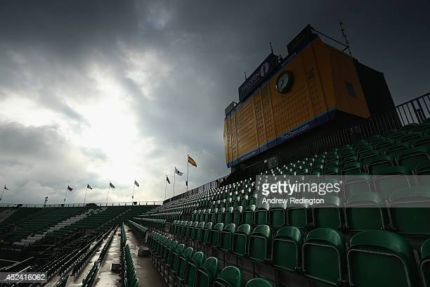 A general view of the scoreboard and stands at the 18th green during the final round of The 143rd Open Championship at Royal Liverpool on July 20...