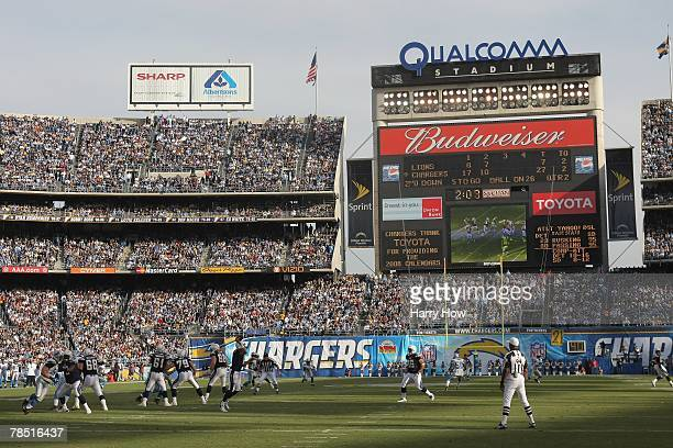 General view of the scoreboard as Philip Rivers of the San Diego Chargers passes against the Detroit Lions during the game at Qualcomm Stadium on...