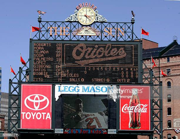 General View of the Scoreboard at Oriole Park during the opening day game at Oriole Park at Camden Yards on April 4 2005 in Baltimore Maryland The...